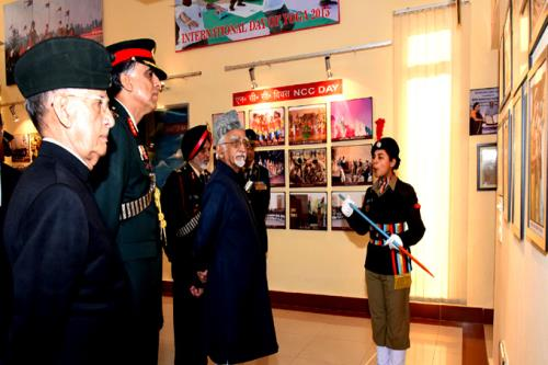 The Vice President, Shri M. Hamid Ansari visiting the Photo Exhibition at the inauguration of the NCC Republic Day Camp 2017, in New Delhi on January 06, 2017.