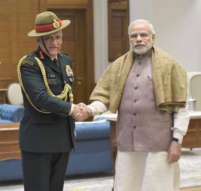 The Chief of Army Staff, General Bipin Rawat calling on the Prime Minister, Shri Narendra Modi, in New Delhi on January 11, 2017