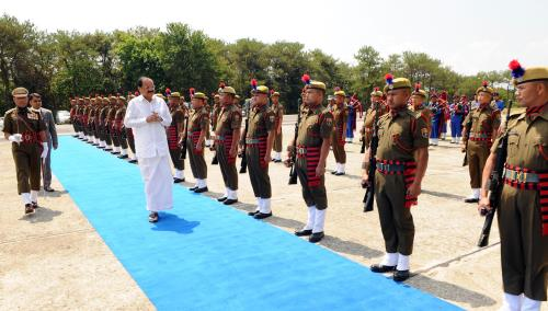 The Vice President, Shri M. Venkaiah Naidu inspecting the Guard-of-Honour given by the Meghalaya Police, on his arrival, in Shillong, Meghalaya on April 16, 2018.