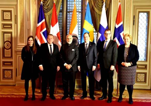 The Prime Minister, Shri Narendra Modi with other leaders at India-Nordic Summit, in Stockholm, Sweden.