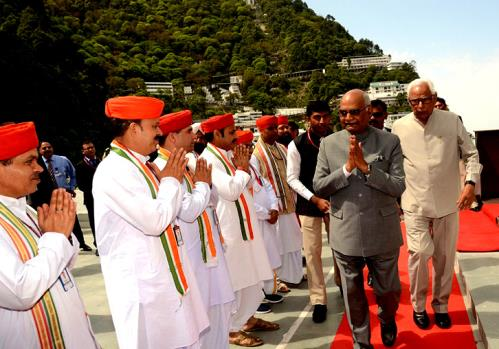 The President of India, Mr. Ram Nath Kovind visited the Holy Cave Shrine of Shri Mata Vaishno Deviji and paid obeisance at the Sanctum Sanctorum on thursday 19 April 2018