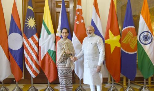 The Prime Minister, Shri Narendra Modi with the State Counsellor of Myanmar, Ms. Aung San Suu Kyi, at Rashtrapati Bhavan, in New Delhi on January 25, 2018.